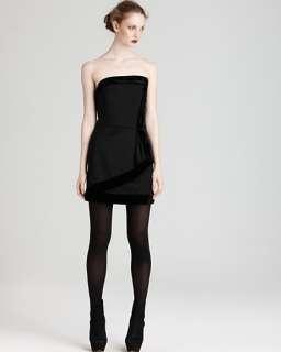 NWT Rachel Zoe Strapless Black Dress, size 4, Wool, Velvet –Trim