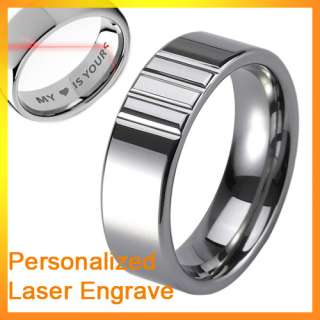 8mm New Mens Carved Tungsten Carbide Ring Wedding Band