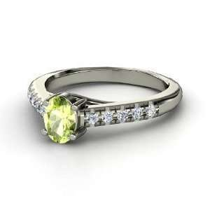 Boulevard Ring, Oval Peridot 14K White Gold Ring with