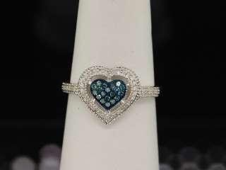 LADIES WHITE GOLD BLUE DIAMOND HEART ENGAGEMENT RING