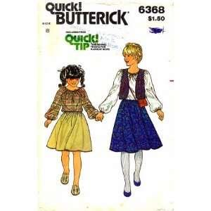 Butterick 6368 Sewing Pattern Girls Blouse Reversible Vest