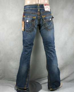 True Religion Jeans Mens JOEY Super T storm rider wheat multi stitch