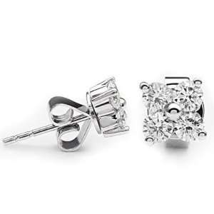 14k White Gold Diamond Flower Earrings (0.58 cttw, H I, SI