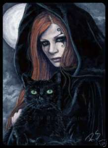 ACEO LE PRINTS Fantasy Art Halloween Witch black Cat wc
