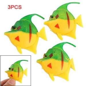 Como Yellow Green Plastic Floating Fish Aquarium Decor 3