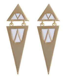 White (White) Art Deco Spike Earrings  249090710  New Look