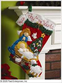 Bucilla Felt Applique 18 Christmas Stocking Kit Mary Joseph Jesus