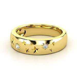 Written in the Stars Ring, 14K Yellow Gold Ring with White