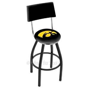 Iowa Hawkeyes Logo Black Wrinkle Swivel Bar Stool with