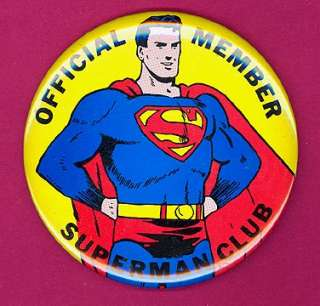 Superman Club 1966 original pinback button badge mint