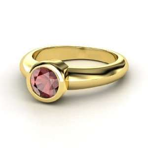 Spotlight Ring, Round Red Garnet 14K Yellow Gold Ring