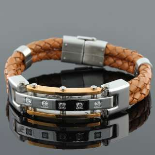 Stainless Steel and Light Brown Leather Two Tone Crystals Unisex