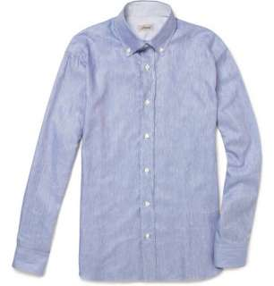 shirts  Long sleeved shirts  Slub Cotton and Linen Blend Shirt