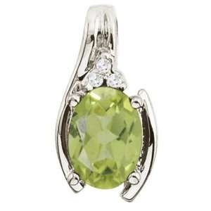 14K White Gold August Birthstone Peridot and Diamond Oval
