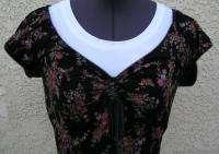 Vintage Designer Betsey Johnson Stretchy Black Floral Peasant Dress