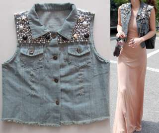 Cowgirl Womens Retro Beaded Sequined Distressed Denim Jacket Jean Vest