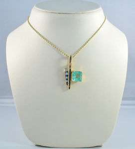 14 K TWO TONE GOLD NATURAL EMERALD/DIAMOND PENDANT