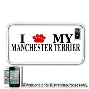 Manchester Terrier Paw Love Dog Apple iPhone 4 4S Case Cover White