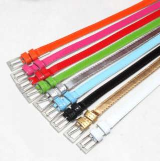 Fashion Women Lady Cute Candy color PU leather Thin Belt New