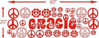 Custom Name peace sign Girls room Vinyl Wall Decal Sticker Art Decor