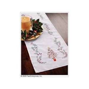 Bucilla Christmas Holly Table Runner Stamped Embriodery 14