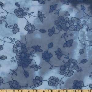 60 Wide Chiffon Glitter Knit Floral Vines Dark Blue Fabric