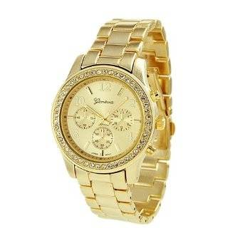 Geneva Rose Gold Plated Classic Round CZ Ladies Boyfriend