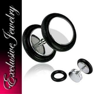 STÜCK FAKE EAR PLUG STEEL BLACK O RING 1,2x6x8/10mm