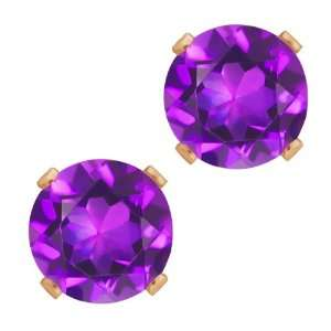 2.60 Ct Round Shape Purple Amethyst Rose Gold Plated