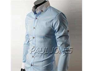 PJ Mens UK Style Slim Fit Long Sleeve Casual Shirts