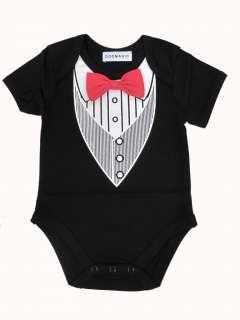 12M) Baby Boy Black Tuxedo Vest w Red Bow Tie 4 Christening Wedding