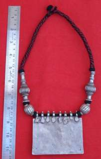 ETHNIC TRIBAL OLD SILVER NECKLACE PENDANT AMULET INDIA