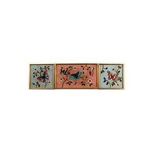 NOVICA Painted glass wall art, Butterfly Color (set of 3