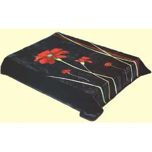 Safari Queen Black Floral Mink Blanket:  Home & Kitchen