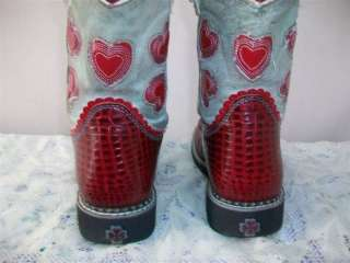 ARIAT RED HEARTS MOC CROC LEATHER WESTERN /COWBOY WOMEN BOOTS SIZE 3