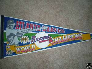 1991 ATLANTA BRAVES WORLD SERIES CHAMP PENNANT