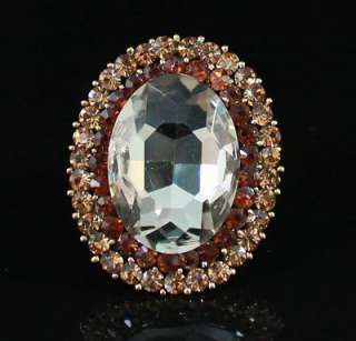 VICTORIAN CINNAMON COCKTAIL FASHION RING AUSTRIAN RHINESTONE CRYSTAL