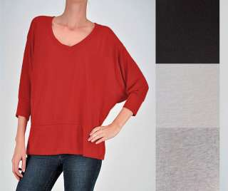 Chic SLOUCHY Oversized DOLMAN SLEEVE V neck Sweater Top Knit Lounge