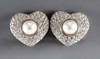 NEW HEART SWAROVSKI CRYSTALS FAUX PEARL CLIP ON EARRINGS IN SILVERTONE
