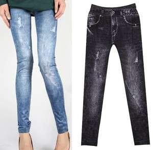 New Spandex Stretch Skinny Denim Jeans Look Leggings Tights Blue Black