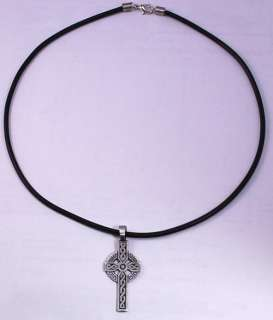Irish Celtic Cross Silver Pewter Pendant w PVC Choker