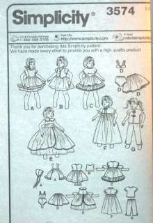 EASY 8 GIRL DOLL CLOTHES SEWING PATTERN Dress Gown PJs Vest Robe