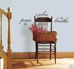 New PAUSE RELAX BREATHE Wall Quote Decals Home Stickers