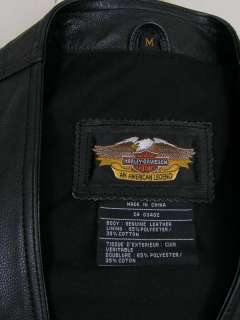 Harley Davidson Leather Vest Black Medium Chain Closure NWOT PERFECT
