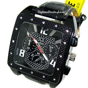 ICED OUT MENS JET BLACK ICE NATION HIP HOP BLING LEATHER WATCH