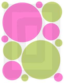 GREEN PINK CIRCLE POLKA DOTS GIRL WALL STICKERS DECALS