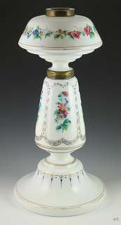 LARGE FRENCH HAND PAINTED FLORAL GLASS OIL LAMP c1850s