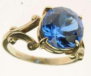 LADIES 14K WHITE GOLD BLUE SAPPHIRE SOLITAIRE GEMSTONE ESTATE RING