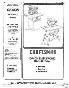 Craftsman Table Saw Manual Model # 113.198251