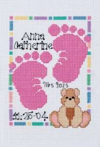 Baby Footprints Baby Birth Record Counted Cross Stitch